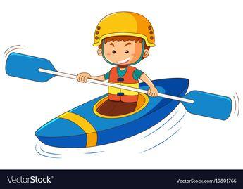 Boy in blue canoe Royalty Free Vector Image - VectorStock
