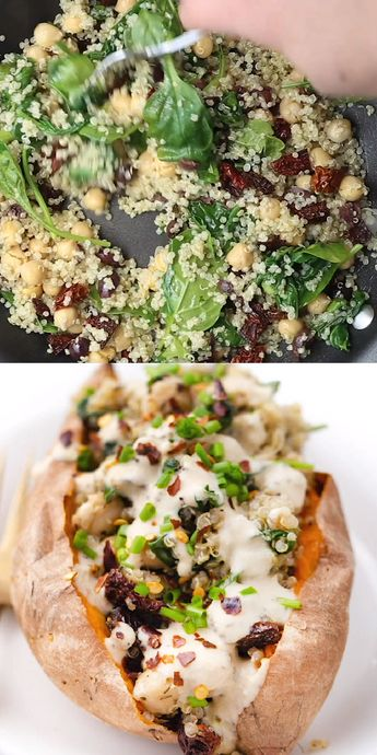 Vegan Stuffed Sweet Potatoes recipe filled with a Mediterranean Quinoa using sun-dried tomatoes, olives, spinach and tons of flavor! Super healthy and easy vegetarian dinner idea! Great for fall or Thanksgiving too.