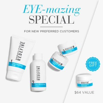 For a limited time new preferred customers who order the regimen of their choice will receive a FREE Multi-function Eye Cream.  A $64 value.