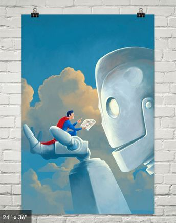 Storytime  Iron Giant and Superman Painting Art by VincentCarrozza