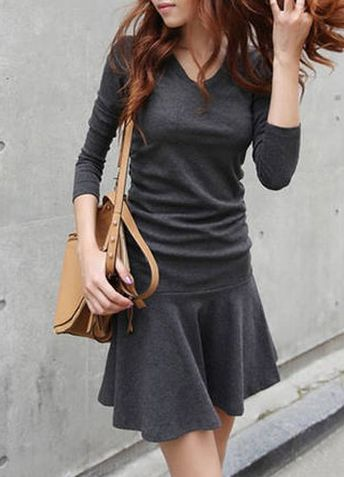 Stylish V-Neck Long Sleeve Flounced Solid Color Dress For Women