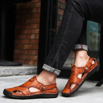 Menico Men Hand Stitching Soft Outdoor Closed Toe Leather Sandals