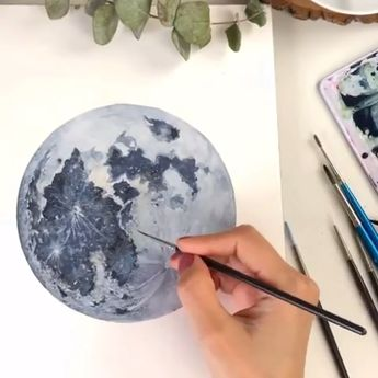 Detailed Moon Painting with Watercolor Paint🌑