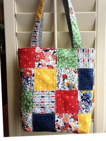 """Made with premium quality of cotton fabric with fusible interfacing. Made with Moda Fabrics collections named """" Front Porches """" Size. 13""""(Width)×12""""(Tall)×4(Deep)×24""""(handle) Do you like this tote bag but are not keen on the fabric or color? I love to do custom orders, please send"""