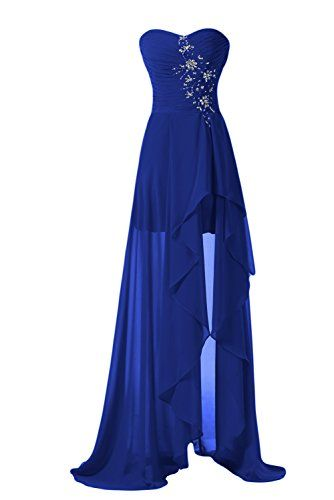 Sunvary High Low Strapless Chiffon Bridesmaid Evening Dresses Prom Gowns Mother of the Groom Gowns US Size 2- Royal Blue Sunvary