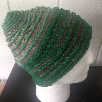 4419194830b9c Beanie crochet hat greens and browns with ridges, spiral pattern hat, mixed  yarn hat