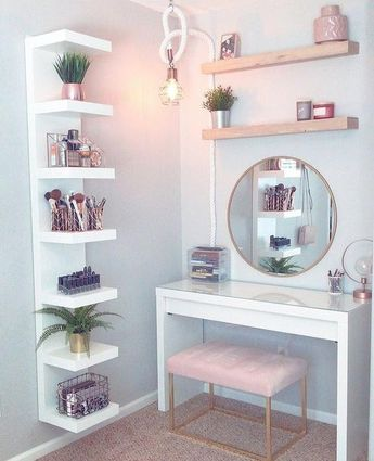 Cute and compact, this well organised vanity dresser has everything at arm's length and not too much clutter. . Check out the makeup…
