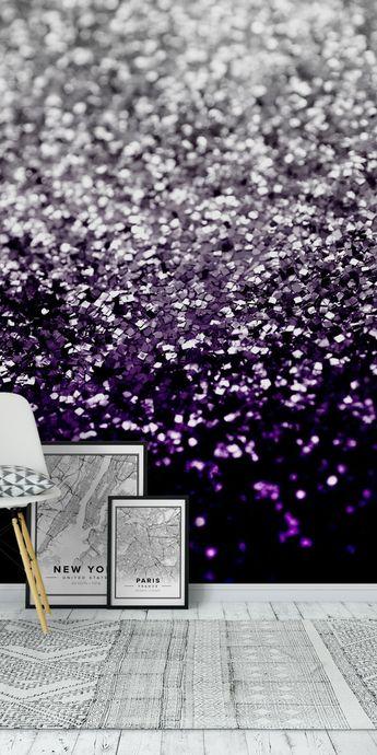 Purple Black Silver Glitter 1 Wall mural