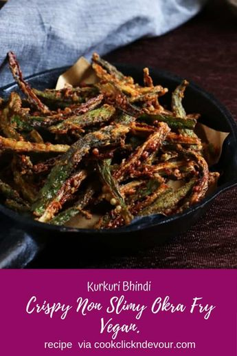 Kurkuri bhindi recipe- feather light and crispy okra fry is a popular snack or side dish from Punjab. This crispy okra fry goes very well as side dish with dal fry and dal tadka. This tasty snack can be prepared in minutes with this easy recipe. Here is an easy step by step bhindi kurkuri recipe for you to try! Recipe via cookclickndevour.com #kurkuribhindi #bhindikurkure #okrafryrecipe #cookclickndevour