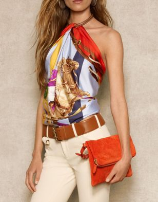 #style #fashion #ralphlauren Ralph Lauren...love the colors! Love the scarf top!