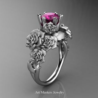 a70e2bbc4 Nature Inspired 14K White Gold 1.0 Ct Pink Sapphire Rose Bouquet Leaf and  Vine Engagement Ring