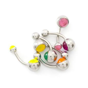 Measurement: 14ga (1.6 mm), 3/8- 10 mm length. Bottom ball glows with ultra violet light exposure. Fun to wear at parties and events.