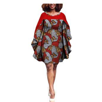 African Print Batwing Sleeve Knee Length Dress