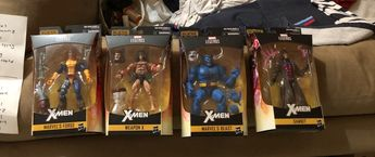 A total of 22 X-men figures from different waves and including 2 exclusives !!! The information below will include the following wave and what figures belong in it and the names of the figures /information below :  Marvel Legends Juggernaut BAF Wave Kitty Pryde  Cable Deadpool Iceman    Marvel Legends Caliban BAF Wave Beast  The Forge Gambit Weapon X   Marvel Legends Apocalypse BAF Wave Wolverine  Storm  Multiple Man Marvels Gladiator  Sabretooth    Marvel Legends Warlock BAF Wave Marvels Sunfir