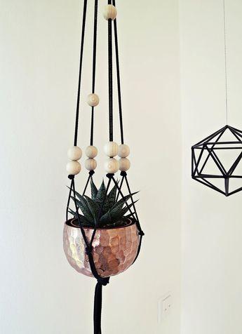 "Ahoj-2012 Macrium-Flower Light ""simply black"", flower light, planting bowl, plant hanger, knotting, braiding, 80s trend, vintage"
