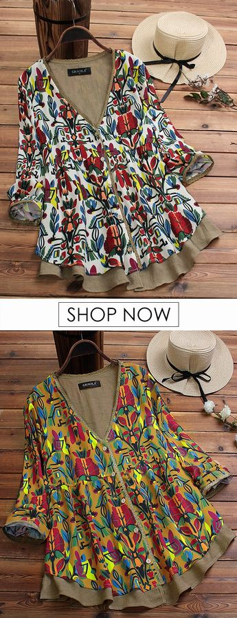 Fake Two Pieces Ethnic Print Vintage Blouse For Women