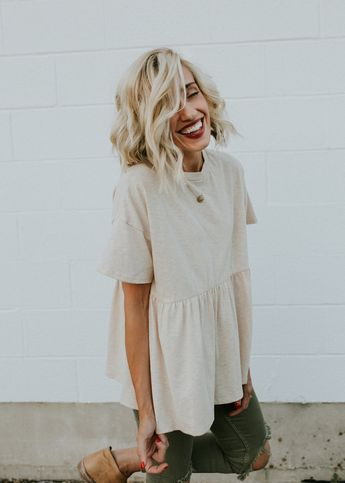 Tan Babydoll Top with Short Sleeves | ROOLEE (Pretty Top)
