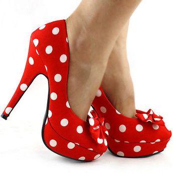 Details about Sexy Polka Dots Bow Evening Stiletto Platform High Heel Pumps Size 2.5/3/4/5/6/7