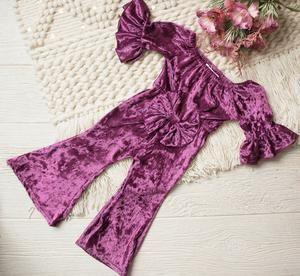 Farrah Mulberry Velvet Bell Bottom Bow Jumpsuit