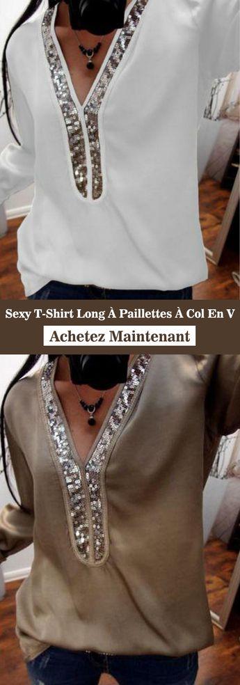 Women Fashion Glitter Sequins Tunic Shirt Shirt Sexy V-neck Women T-shirt
