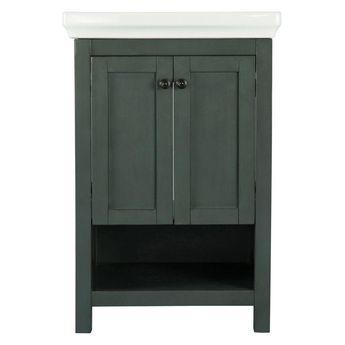 Home Decorators Collection Hanley 23-3/4 in. W x 18 in. D Bath Vanity in Charcoal Grey with Porcelain Vanity Top in White-HAGOS2417