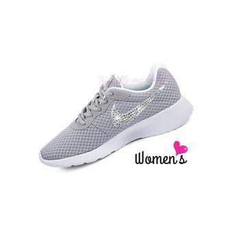 sneakers for cheap 69a21 fbb92 Nike Tanjun Women s in Gray ~ Bedazzled Nike ~ Blinged Nikes ~ Rhinestone  Nike - Swarovski