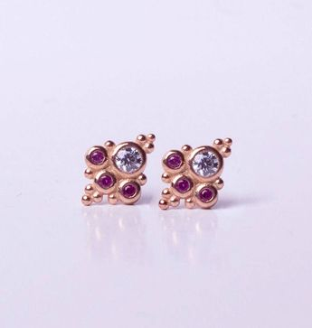 14K Gold Stud Earrings / Ruby Studs / Emerald Studs / Sapphire Studs / Turquoise Studs