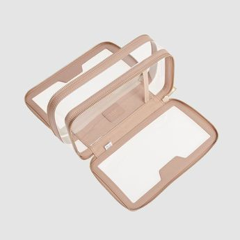 Taupe Clear Travel Case