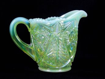 Teal Diamond Point Crimped Compote by IVIMA 1895 Glass, Ru