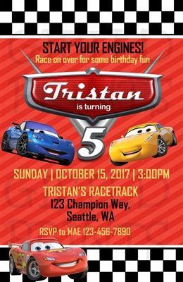 Cars Lightning McQueen Birthday Invitation Checkered Background