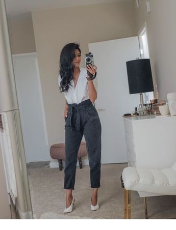 White top and pumps with grey pants