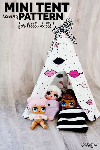 Don't let your dolls sleep under the stars, this DIY Doll Tent is the perfect size for your LOL Dolls. Easy and fun to make, your kids will love their newest LOL Doll addition.    See Kate Sew #kidstoys #diytoy #sewingtutorial #kissmekate #seekatesew