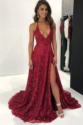 A-Line Deep V-Neck Sweep Train Dark Red Split Sleeveless Lace Backless Prom Dress