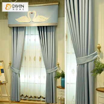 DIHIN HOME White Swan Printed,Blackout Curtains Grommet Window Curtain for Living Room ,52x84-inch,1 Panel