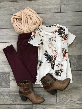 You guys! I'm dying over here, waiting for the weather to get cooler! Here's another outfit I put together, and am eagerly waiting to wear out! Floral top: Here Maroon skinnies: Here Similar bootie…