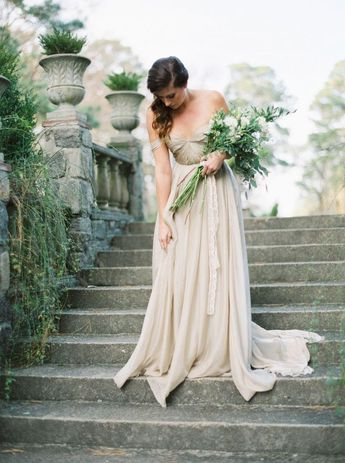 Galleries | Gorgeous Wedding Inspiration | Magnolia Rouge | taupe silk wedding dress off the shoulder small cups, hair side swept | long stem bouquet lots of greenery and white florals