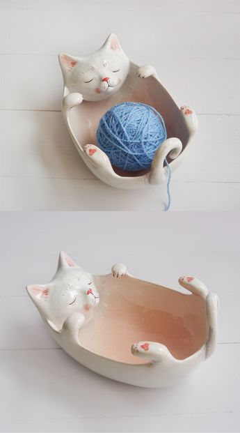 Cat bowl, ceramic yarn bowl, ceramic cat figurine, cat yarn bowl