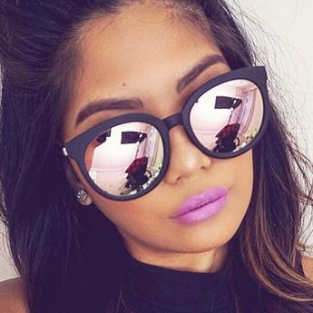 0c4c3dfb3e123 Cat eye pink sunglasses woman shades mirror female square sun glasses for  women coating oculos fashion