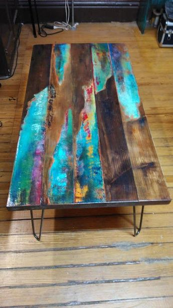 painted coffee table. Abstract art on distressed wood. Industrial pipe legs, farmhouse, rustic, look