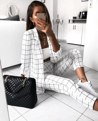 black and white stripe outfit with white sneakers. Visit Daily Dress Me at dailydressme.com for more inspiration                   women's fashion 2018, fall fashion, casual outfits, street style, women's blouses, work fashion, business casual, blazers, sneakers,