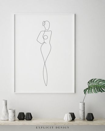 Printable Illustrated One Continuous Line Female Figure Drawing, Minimalist Nude Woman Body Art, Naked Print, Abstract Digital Girl Sketch. #parentsdrawing