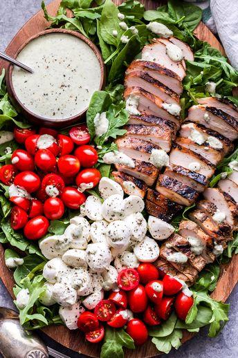 Caprese Grilled Chicken Salad with Creamy Pesto Dressing
