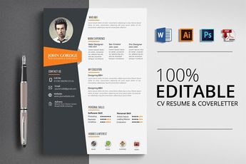 Word CV Resume Template by Psd Templates on @creativemarket