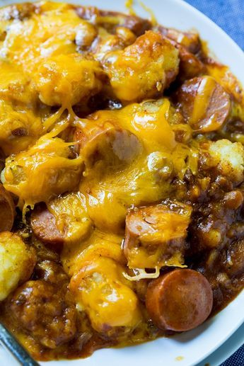 Cheesy Hot Dog Tater Tot Casserole