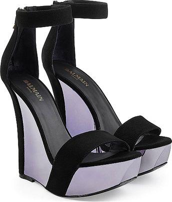 67c5bfed0df2 Balmain Suede Platform Sandals - High Heel Sandals - Purple. Dressed in  supple black suede