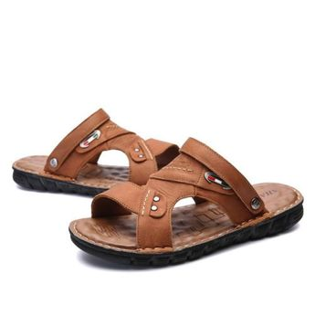 7088aef11ca5 Details about Men s Casual Summer Leather Slippers Breathable Beach Sandals  Fashion Flat Shoes