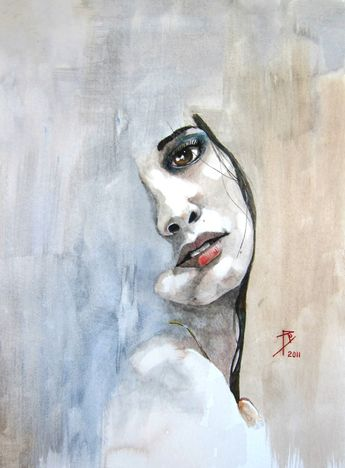 """Saatchi Art Artist: Ray Domnic; Watercolor 2011 Painting """"Beth"""""""