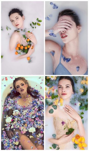 Milk flower bath photo ideas.