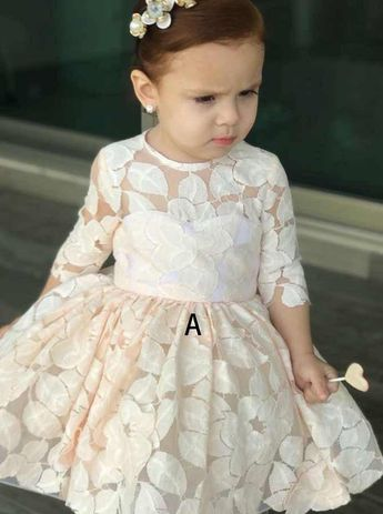 40fa28c4107 Cute Different Styles Round Neck Flower Girl Dresses With Lace