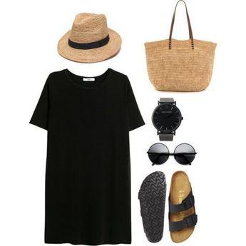 # été #outfits / T-shirt oversize noir + Sandales Simple et confortable. ne pas